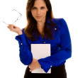 Business Woman Holding Notebook — Stock Photo