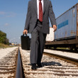 Businessman on Track — Stock Photo