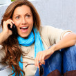 Shocked Woman talking phone — Stock Photo
