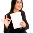 Business WomHolding Blank Book and Okay Sign — Foto de stock #36340813