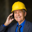 Businessman wearing hardhat — Stock Photo