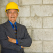 Senior man wearing business suit and hardhat — Stock Photo