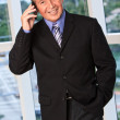 Stock Photo: Handsome businessmon phone