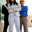 Business team with plans and wearing hardhat — Stockfoto #36341767
