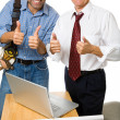 Stock Photo: Thumbs-up Architect and Contractor
