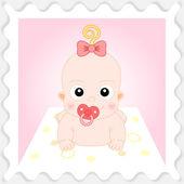 Sweet Cartoon Baby Girl — Stock Vector