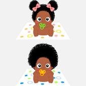 Cute Cartoon African Baby Girl and Boy — Stock Vector