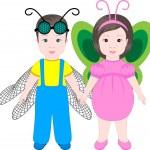 Two children wearing Halloween costumes — Stock Vector