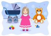 Toys for girl — Stock Vector