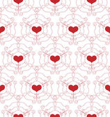 Seamless Pattern with openwork Hearts — Stok Vektör