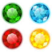O conjunto de quatro gemas coloridas — Vetor de Stock
