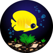 Tropical Yellow Fish is Swimming Under Water — Stock Vector