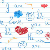 Seamless Background with Words about Love on Notebook Sheet — Vecteur