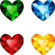 The set of four colorful diamond hearts — Stock Vector