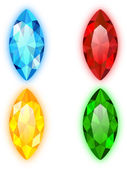 Set of Four Gems Marquise Shaped — Stock Vector