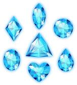 孤立在白纸上的蓝色宝石一套 — 图库矢量图片