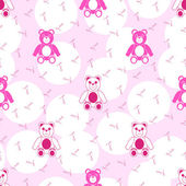 Pink Seamless Pattern with Teddy Bear — Vecteur
