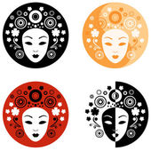 Abstract face on the circle — Stock Vector