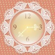 Clock with frame of lace — Vector de stock