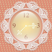 Clock with frame of lace — Stock Vector