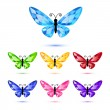 Set of nine diamond butterflies — Stock Vector
