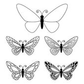 Set of butteflies isolated on white — Stock Vector