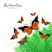Background with bright butterflies — 图库矢量图片