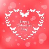 Heart of butterflies. Valentine's Card — Stock Vector