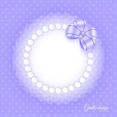 Frame with beads and bow — Stock Vector