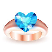 Ring with topaz heart shaped — Stock Vector