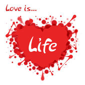 Heart-shaped splash with lettering Love is Life — Stock Vector
