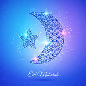 Moon for Muslim community festival Eid Mubarak — Stock Vector