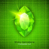 Shiny emerald on textured background — Stock Vector