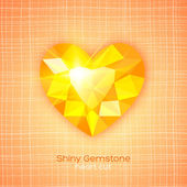 Gemstone heart shaped on textured background — Stock Vector
