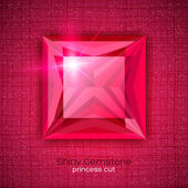 Gemstone princess shaped on textured background — Stock Vector