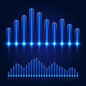 Luminous Equalizer on Dark Background — Stock Vector