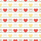 Vintage Seamless Pattern with Hearts — Stock Vector