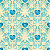 Ornate Seamless Pattern with Diamond Hearts — Stock Vector