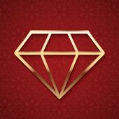 Golden Diamond Silhouette — Stock Vector