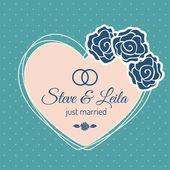 Net getrouwd bruiloft kaart — Stockvector