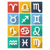 Zodiac Symbol Icons. Flat Style — Stock Vector