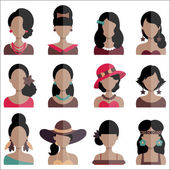 Set of Flat Icons with Women Characters — Stock Vector