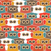 Seamless Vintage Pattern with Cute Owls — ストックベクタ