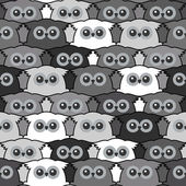 Seamless Vintage Pattern with Cute Owls — Stock Vector