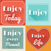 Set of Enjoy Life Motivating Retro Cards Design — Stock Vector
