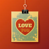 """Hanging Retro Card """"Love You"""" — Stock Vector"""