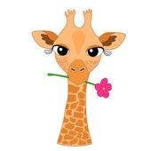 Cute Hand-drawn Cartoon Giraffe Holding a Flower — Stock Vector