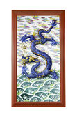 Chinese dragon on wall in chinese joss house — Foto de Stock