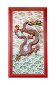 Chinese dragon on wall in chinese joss house — Стоковое фото