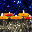 Burning candles and festive decor — 图库照片
